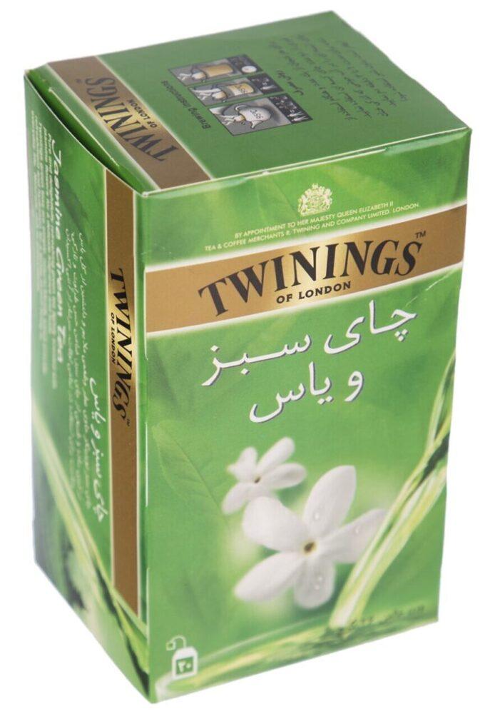 چای سبز کیسه ای توینینگز با طعم یاس بسته 20 عددی