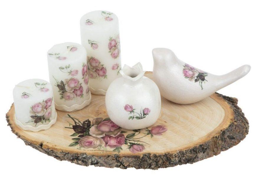 کادوی ولنتاین برای دختران شمع طرح گل کد 01 مجموعه 3 عددی به همراه انار و پرنده دکوری