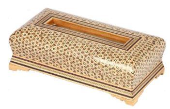 صنایع دستی-جعبه دستمال کاغذی خاتم کاری گالری گوهران مدل اداری 1211