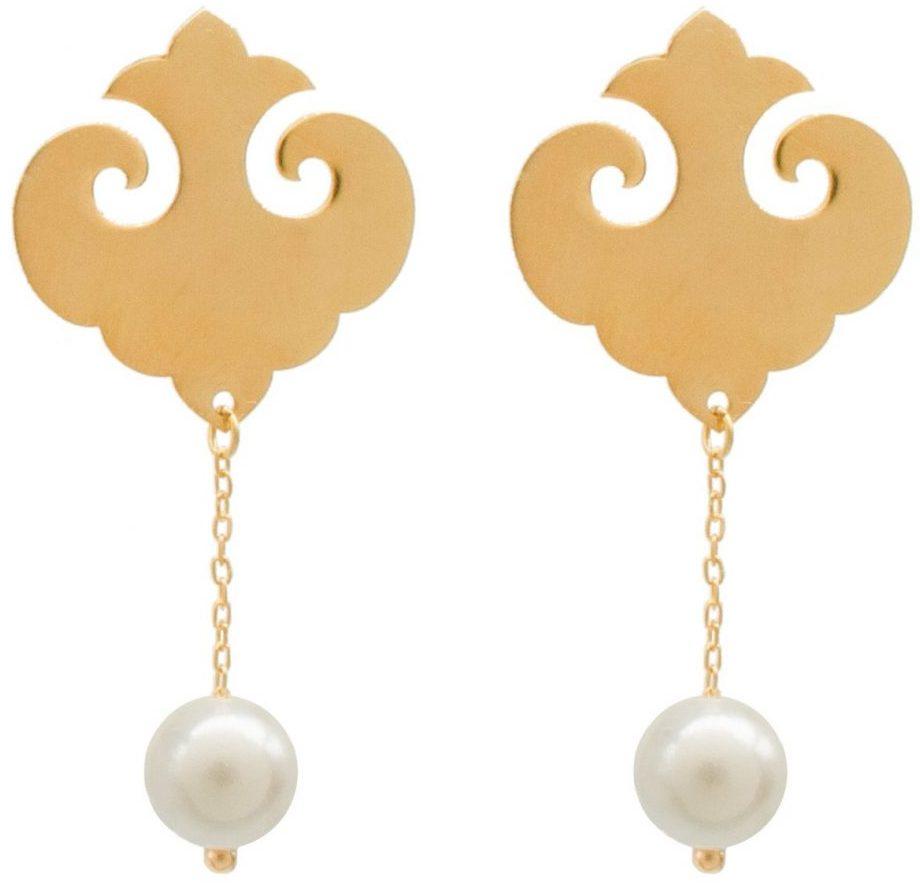 گوشواره طلا 18 عیار زنانه الماسین آذر مدل مروارید کد MO01